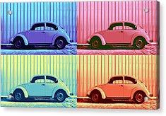 Vw Beetle Pop Art Quad Acrylic Print by Laura Fasulo