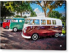 Vw Bus Stop 1964 1961 1968 Vans Trucks Painted Acrylic Print by Rich Franco
