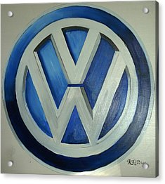 Acrylic Print featuring the painting Vw Logo Blue by Richard Le Page