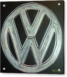 Acrylic Print featuring the painting Vw Logo Chrome by Richard Le Page