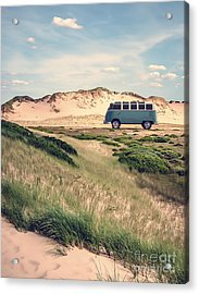 Vw Surfer Bus Out In The Sand Dunes Acrylic Print by Edward Fielding