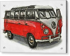 Acrylic Print featuring the painting Vw Van - Red Art Print by Georgi Dimitrov