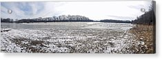 Acrylic Print featuring the photograph Wabash River Ice Jam Panorama by Tony Mathews