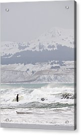 Wading Into Winter Surf Acrylic Print by Tim Grams