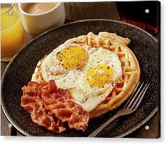 Waffles With Fried Eggs And Bacon Acrylic Print by Lauripatterson