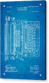 Wagner Type Writing Machine Patent Art 1899 Blueprint Acrylic Print