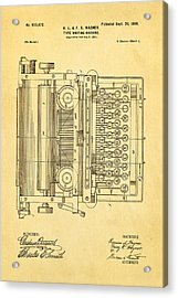 Wagner Type Writing Machine Patent Art 1899 Acrylic Print