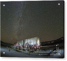 Wagon Train Under Night Sky Acrylic Print