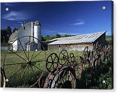 Wagon Wheel Barn Acrylic Print by Latah Trail Foundation