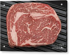 Wagyu Beef Steak In A Pan From Above Acrylic Print by Paul Cowan