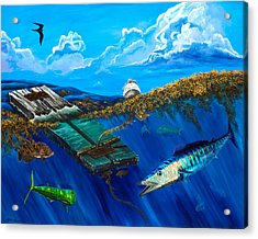 Acrylic Print featuring the painting Wahoo Under Board by Steve Ozment