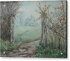 Waikato Fog. Acrylic Print by Val Stokes
