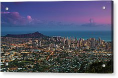 Waikiki And Diamond Head At Sunset Acrylic Print