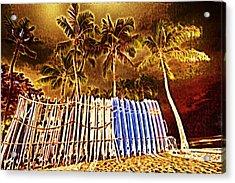 Waikiki Surf- Hawaii Acrylic Print by Douglas Barnard
