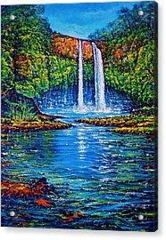 Wailua Falls Kauai Acrylic Print by Joseph   Ruff