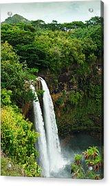 Wailua Falls Kauai Acrylic Print by Photography  By Sai