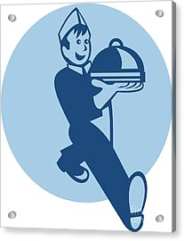Waiter Cook Chef Baker Serving Food Acrylic Print by Aloysius Patrimonio