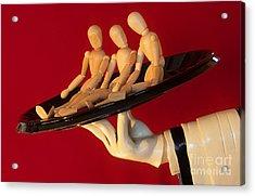 Waiter Serving 3 Dummies Acrylic Print by Bob Christopher