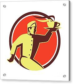 Waiter Serving Coffee Cup Retro Acrylic Print by Aloysius Patrimonio