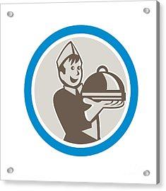 Waiter Serving Food On Platter Retro Acrylic Print by Aloysius Patrimonio