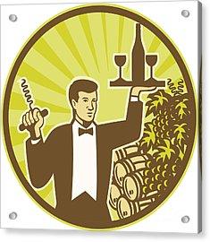 Waiter Serving Wine Grapes Barrel Retro Acrylic Print by Aloysius Patrimonio