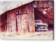 Acrylic Print featuring the painting Waitin In The Shade by John  Svenson