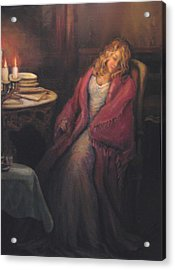 Acrylic Print featuring the painting Waiting by Donna Tucker