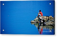 Waiting For A Bite Acrylic Print by Mark Miller