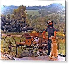 Waiting For A Lift On The Old Buckboard Acrylic Print by Patricia Keller