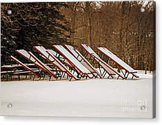 Waiting For Summer - Picnic Tables Acrylic Print by Mary Machare