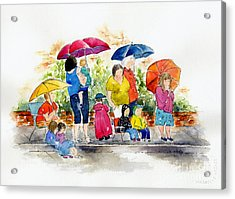 Waiting For The Parade Acrylic Print by Pat Katz