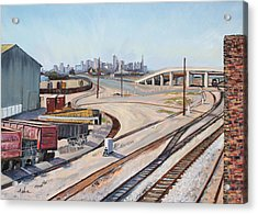 Acrylic Print featuring the painting Waiting For The Train by Asha Carolyn Young
