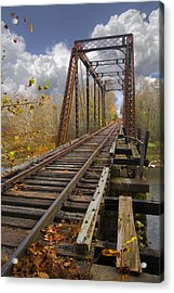 Waiting For The Train Acrylic Print by Debra and Dave Vanderlaan