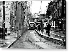 Waiting For The Tram In Istanbul Acrylic Print by John Rizzuto