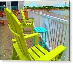 Waiting For Tide And Sunset Acrylic Print