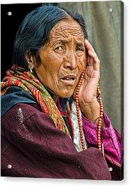 Waiting In Dharamsala For The Dalai Lama Acrylic Print by Don Schwartz