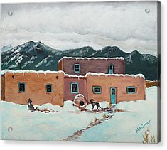 Waiting In Taos Acrylic Print by Mary Anne Civiok