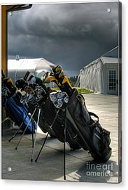 Waiting Out The Rain - Chambers Bay Golf Course Acrylic Print by Chris Anderson