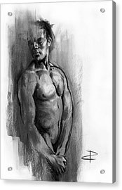 Acrylic Print featuring the drawing Waiting by Paul Davenport