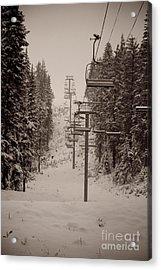 Waiting Ski Lifts Acrylic Print by Cari Gesch