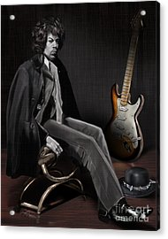 Waiting To Play - The  Jimi Hendrix Series Acrylic Print by Reggie Duffie