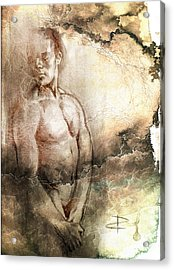 Acrylic Print featuring the drawing Waiting With Mood Texture by Paul Davenport