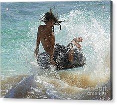 Wake Boarder Hawaii Acrylic Print by Bob Christopher