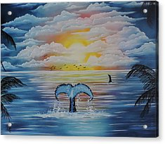 Acrylic Print featuring the painting Wale Tales by Dianna Lewis