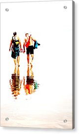 Walk Along The Beach Acrylic Print by Andy Fung