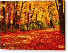 Walk In An Autumn Park Acrylic Print