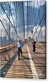 Walkers And Joggers On The Brooklyn Bridge Acrylic Print