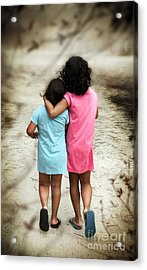 Walking Girls Acrylic Print by Carlos Caetano