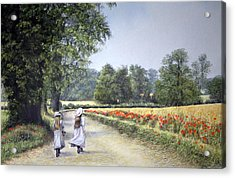 Acrylic Print featuring the painting Walking Home by Rosemary Colyer