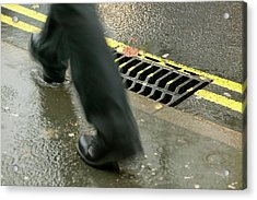 Walking In The Rain Acrylic Print by Ashley Cooper